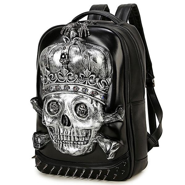 Punk PU Stereo 3D Crown Skull Head Rivets Large Boy's School Backpack For Big Sale!- Fowish.com