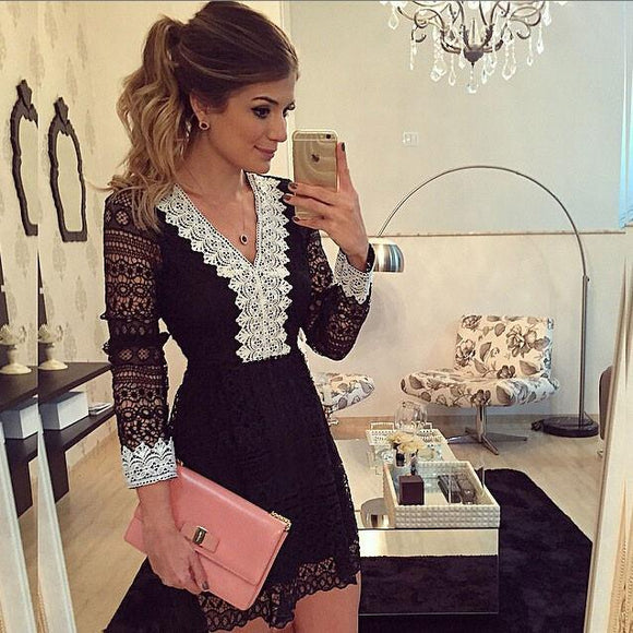 Women Sexy Black Lace V Neck Long Sleeve Hollow Dress For Big Sale!- Fowish.com