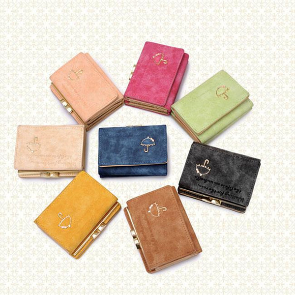 Cute Frosted Small Umbrella Short Ladies Wallet Purse For Big Sale!- Fowish.com