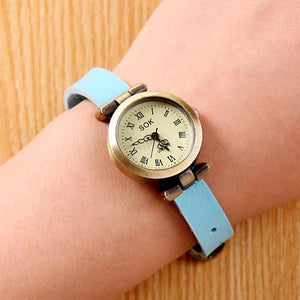 Retro Unicyclic Multicolor Choose Roman Numeral Cowhide Leather Girl Watch - lilyby