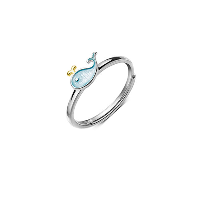 Lovely Little Whale Dolphin Fish Girl Animal Open Ring