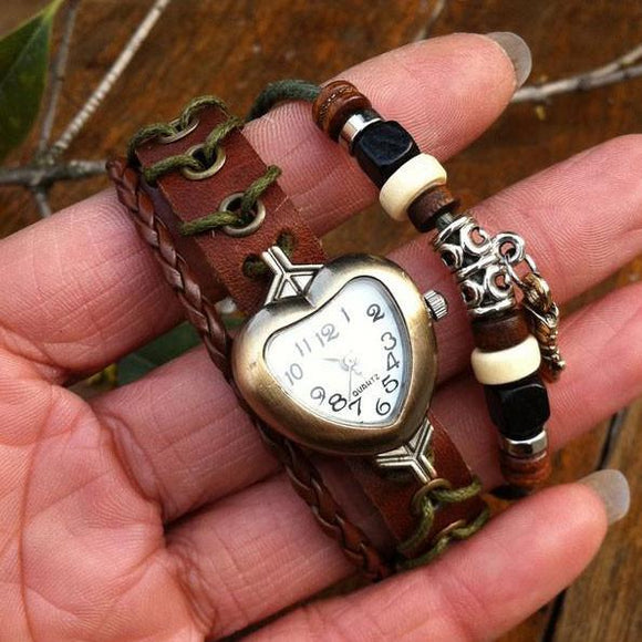 Handmade Heart-Shaped Retro New Bracelet Watch - lilyby