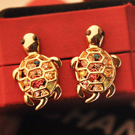 Cute Rhinestone Turtle Animal Earrings