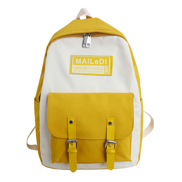 Leisure Double Buckle Student Bag Nylon  Contrast Color Waterproof School Backpacks