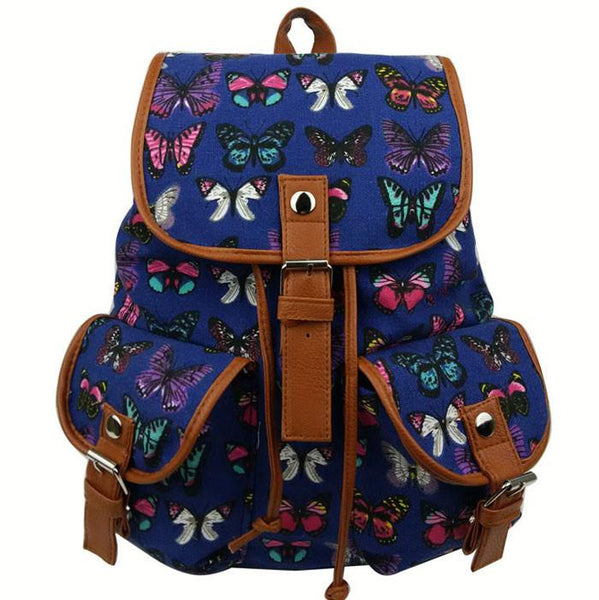 Leisure Butterfly Print Women Rucksack Two Pockets College Canvas Backpack - lilyby