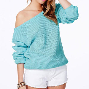Women Solid Color Long Sleeve Knitted Sweater Loose Knitwear For Big Sale!- Fowish.com