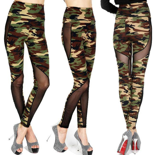 Girl's Mesh See Through Camouflage Splicing Ninth Skinny Legging For Big Sale!- Fowish.com