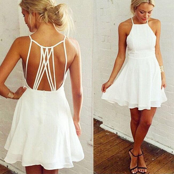 Nifty Girl's White Sleeveless Back Cross Straps Backless Party Evening Cocktail Dress Ruffles Chiffon Summer Dresses For Big Sale!- Fowish.com