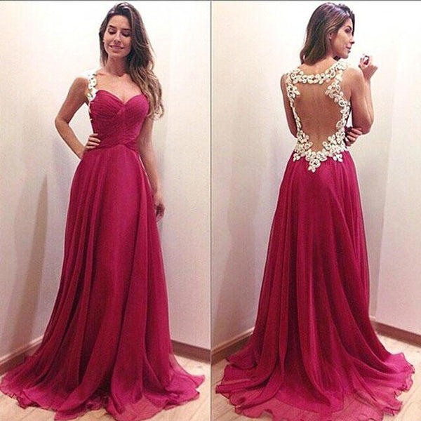 Sexy Backless Formal Prom Gowns Long Maxi Dress Women's Red Splicing Lace Evening Dresses For Big Sale!- Fowish.com