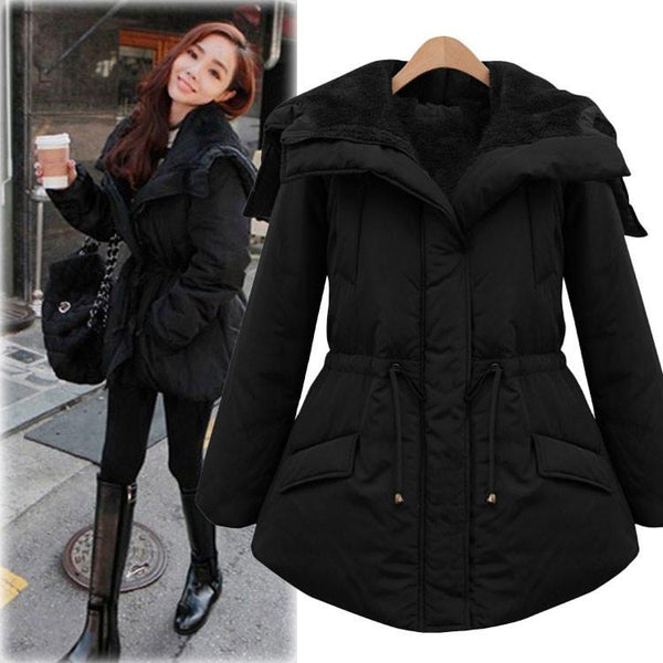 Fashion Black Thickening Slim Elastic Waist Belt Parkas Down Jacket Cotton-padded Jacket Feather Dress For Big Sale!- Fowish.com