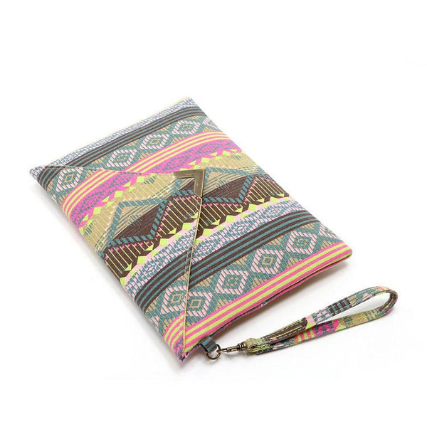 Geometric Printed Canvas Envelope Bag Clutch bag For Big Sale!- Fowish.com