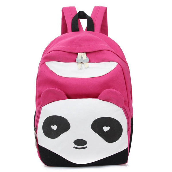Cartoon Cute Panda School Rucksack Animal College Canvas Backpack - lilyby