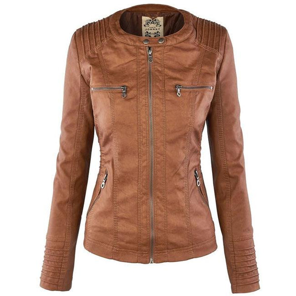 Women's Winter PU Leather Jacket Fashion Fall Winter Faux Leather Detachable Fake Two-piece Hood Zipper Jackets Coat For Big Sale!- Fowish.com