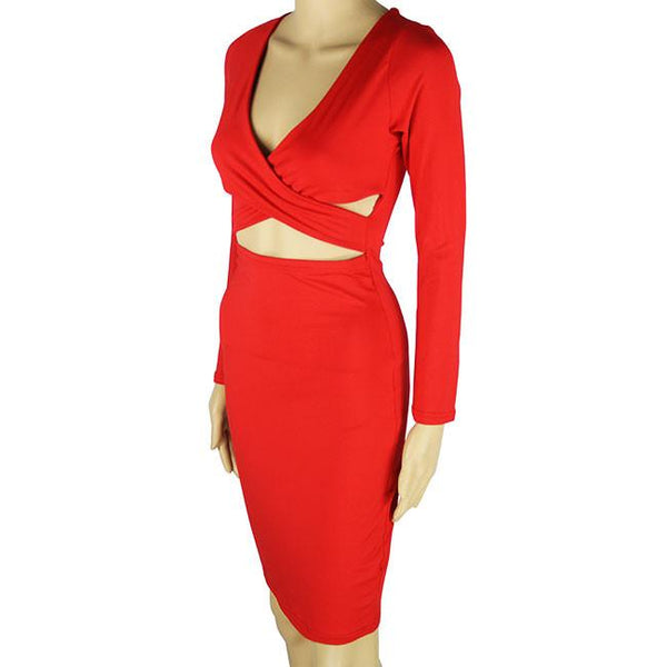 Fashion Nightclub Hollow Long Sleeved Dress Irregular Chest Cross Sexy Dress For Big Sale!- Fowish.com