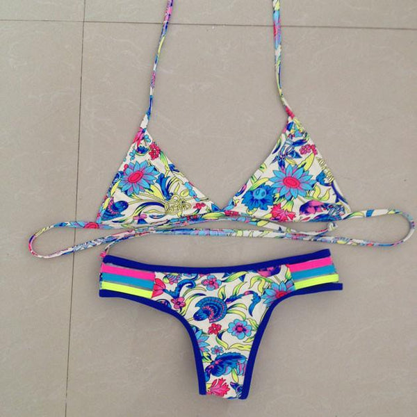 Sexy Thong Small Chrysanthemum Bikini Swimsuit Swimwear Bathingsuit For Big Sale!- Fowish.com