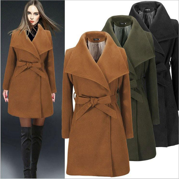 Fashion Pure Color Waist Strap Wool Coat Winter Coat Windbreaker For Big Sale!- Fowish.com