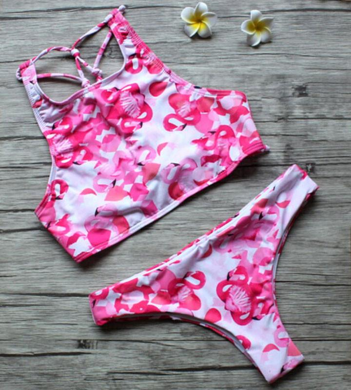 Pink Flamingo Print Bikini Split Triangle Swimsuits Bikini Set - lilyby