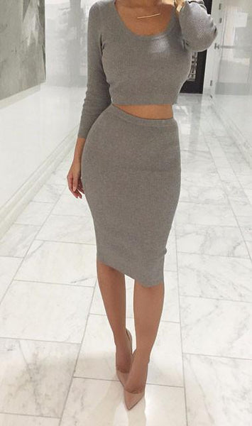 Women's Knit Midi Skirt Outfit Two Pieces Bodycon Tight Dress For Big Sale!- Fowish.com