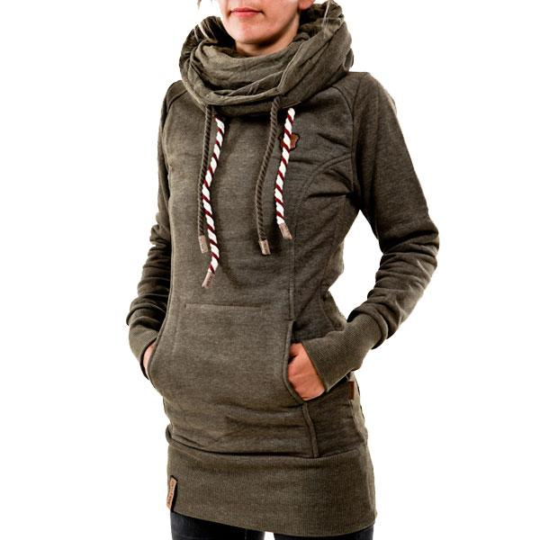 Leisure Heaps Collar Hooded Long-sleeve Pocket Women's Embroidered Fleece Long Pullover Sweater For Big Sale!- Fowish.com