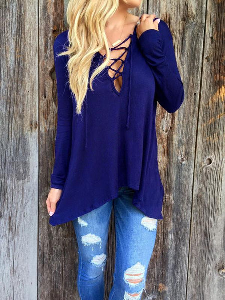 New Spring V-neck With Cross Lace Up Hoodie T-shirt - lilyby