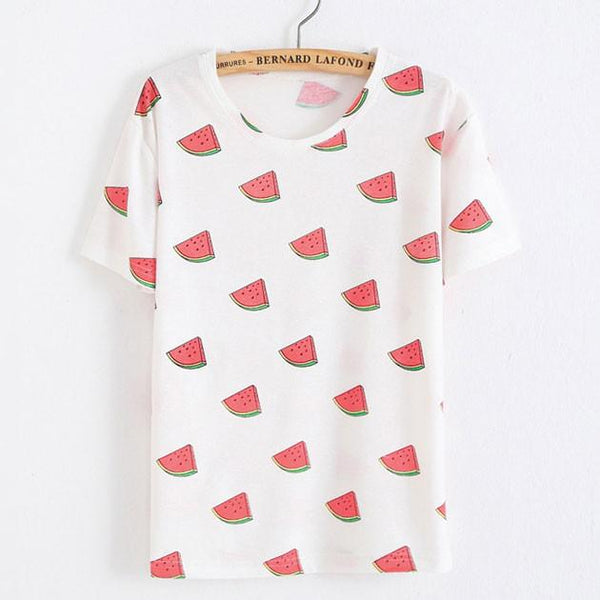 Watermelon Printed Fruit Cotton T-Shirt In White For Big Sale!- Fowish.com
