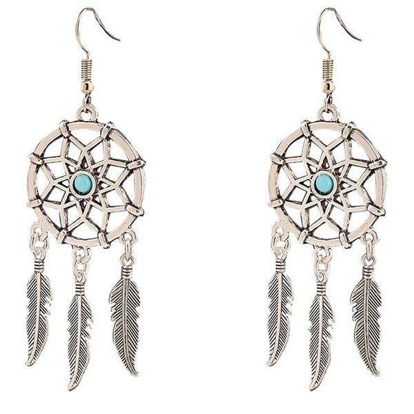 Folk Dreamcatcher Feather Tassels Women's Vintage Earring Studs Eardrop For Big Sale!- Fowish.com