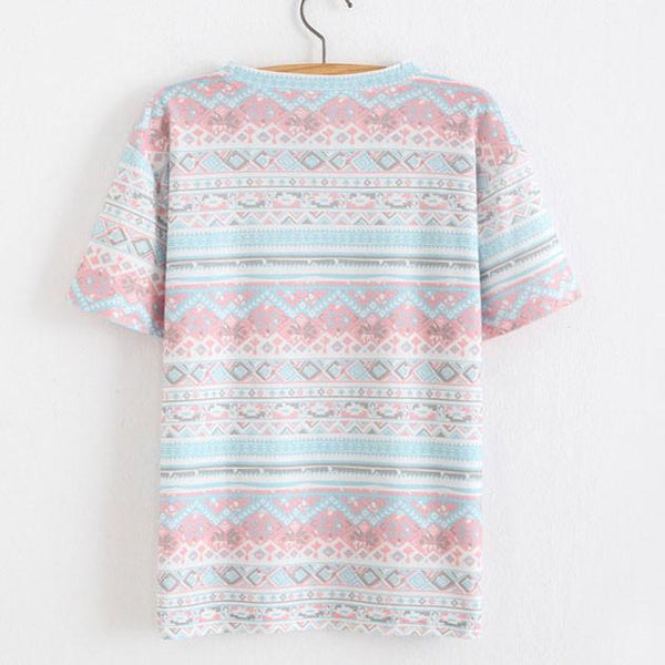 Snowflakes and Floral Printed Cotton T-Shirt In Folk For Big Sale!- Fowish.com