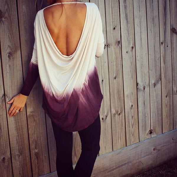 Gradient Hanging Halter Long-sleeved T-shirt For Women - lilyby