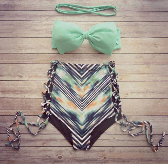 Mint Bow High Waist Floral Bikini Bow Top Swimsuits Bikini Set - lilyby
