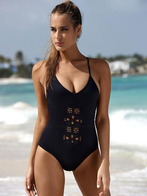 Hollow Out Bathing Suits Black Bikini one-piece Swimsuits Bikini Set - lilyby