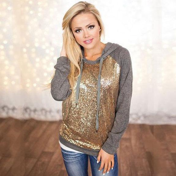 Fashion Hooded Jacket Ladies Sequins Splicing Casual T-shirt Pullover Tops Women Sweater For Big Sale!- Fowish.com