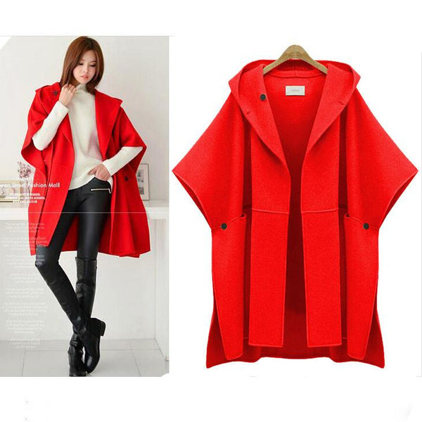 New Unique Hooded Batwing Sleeveless Cape Loose Woolen Coat  Woolen Jacket Large Size Winter Coat For Big Sale!- Fowish.com