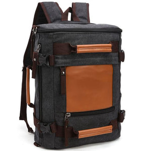 Retro Large Capacity School Bag Cylindrical Travel Splicing Bucket Canvas Backpack For Big Sale!- Fowish.com