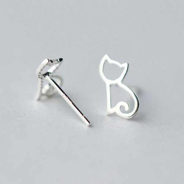 Cute Hollow Kitten Silver Animal  Cat Earring Studs For Big Sale!- Fowish.com