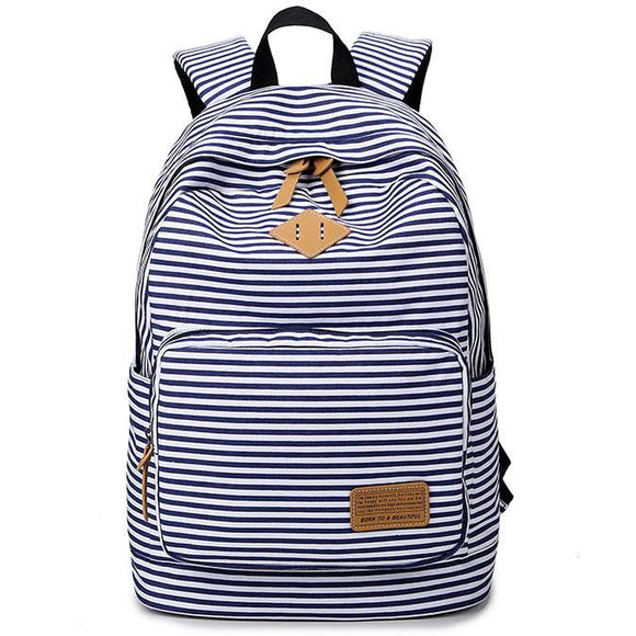 Stripe High School Bag Rucksack Trunk Student Travel Canvas Backpack For Big Sale!- Fowish.com