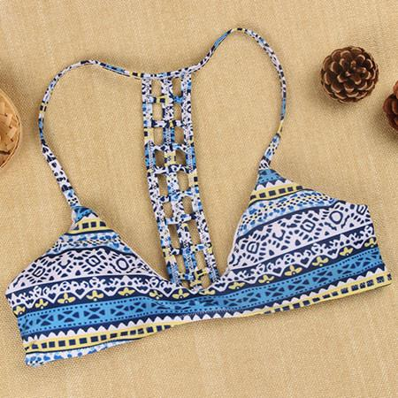 Blue Hollow Bikini Sexy Women Bandage Push-up Padded Bra Swimsuit Swimwear - lilyby