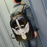 Punk Sword Wild Wolf Rivets Large Capacity Boy's 3D PU Stereo Angel Wings Backpack For Big Sale!- Fowish.com