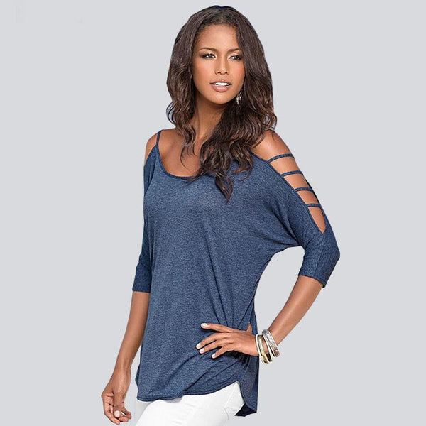 Solid Hollow Strapless Short-sleeved T-shirt For Women For Big Sale!- Fowish.com