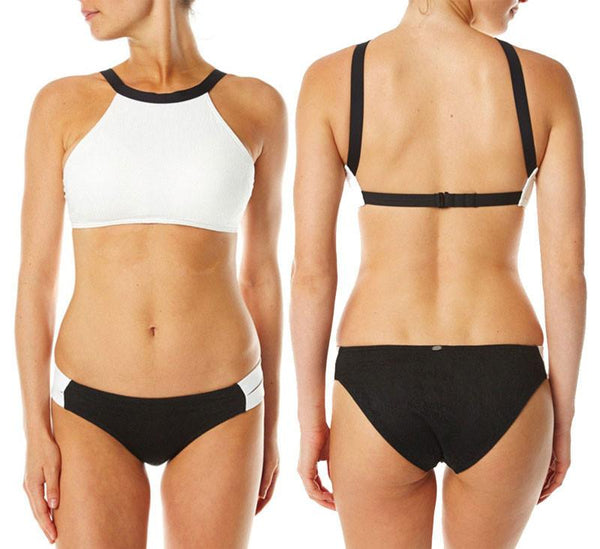 Contrast Color Sexy Crop Top Bikinis Set Halter Swimwear Beach Bathing Suit - lilyby