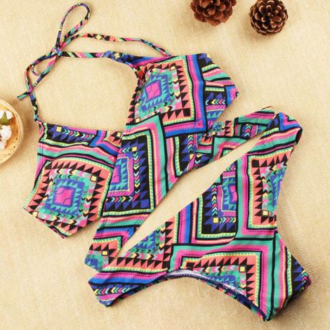 Sexy Retro Printing Women Bikini Set Triangle Push-Up Bra Swimsuit For Big Sale!- Fowish.com