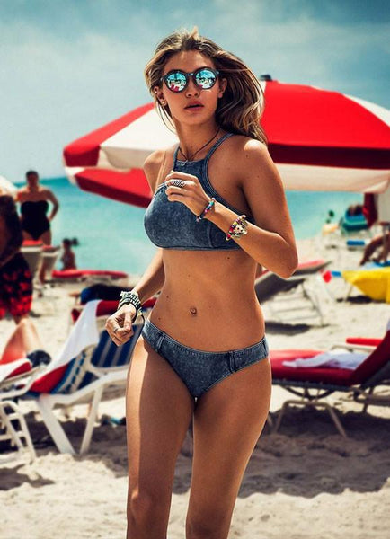 Triangle Sexy Crop Top Bikinis Set Push Up Cowboy Swimwear Beach Bathing Suit For Big Sale!- Fowish.com