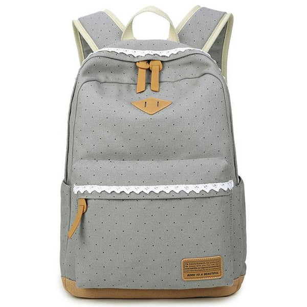 Sweet Wave Point Lace Large Capacity Dot Travel School Canvas Backpack For Big Sale!- Fowish.com