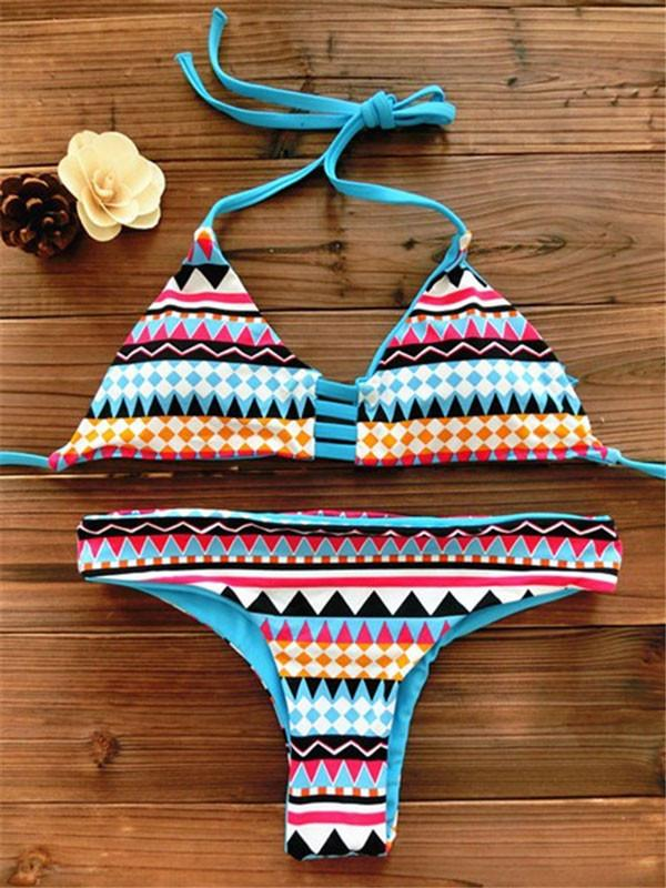 Sexy Thong Geometry Printed Set Push Up Swimwear Beach Bathing Suit For Big Sale!- Fowish.com