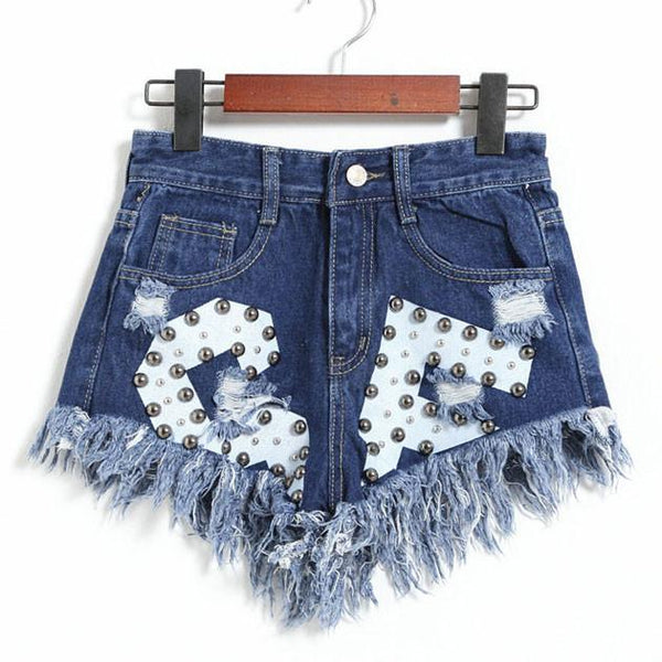 New Letters Printed Ragged Edges Rivet High Waist Denim Shorts Jeans Wonmen Shorts - lilyby
