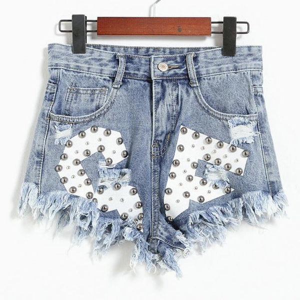 New Letters Printed Ragged Edges Rivet High Waist Denim Shorts Jeans Wonmen Shorts-Light blue - lilyby