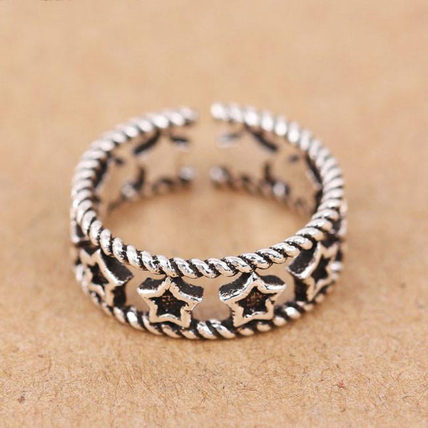 Retro Silver Hollow Accessory Rings Star Open Ring For Big Sale!- Fowish.com