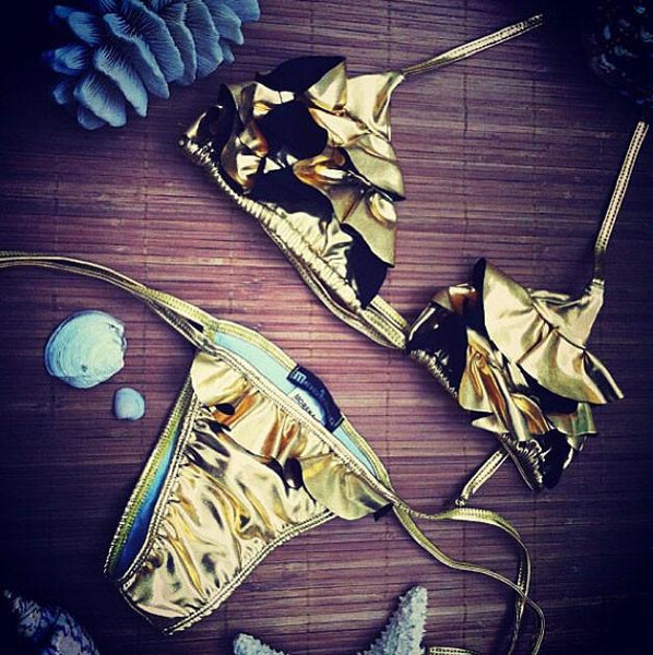 Tyrant Gold Flowers Triangle Swimsuit Bikini Set Swimwear Beach Bathingsuit For Big Sale!- Fowish.com