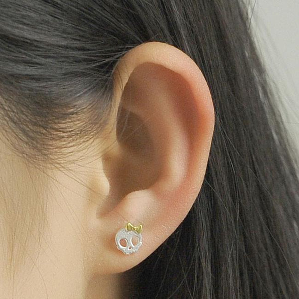 Original Dark Princess Punk Bowdot Skull Silver Earring Studs For Big Sale!- Fowish.com