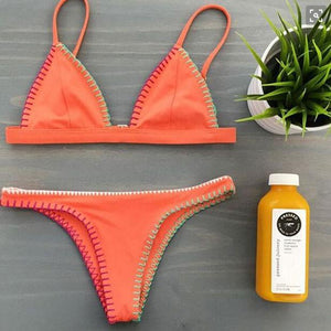 Orange Halter Sexy Bikini Set Swimsuit Beach Bathing Suits For Women - lilyby