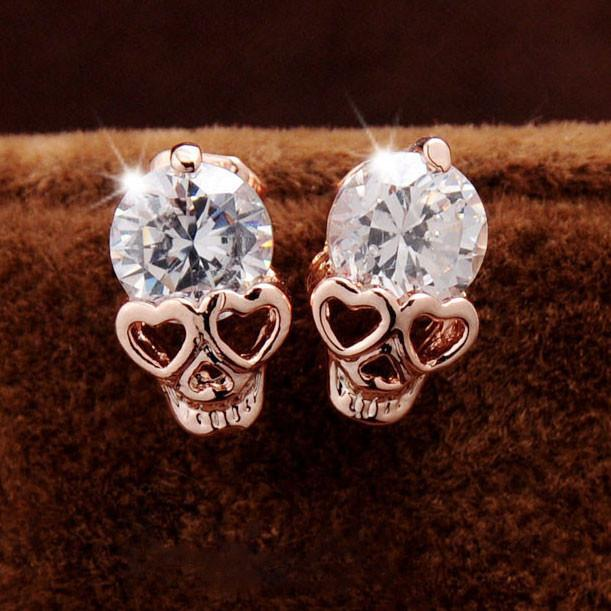 Punk Rose Gold Skull Personalized Alloy Diamond Earrings Studs For Big Sale!- Fowish.com
